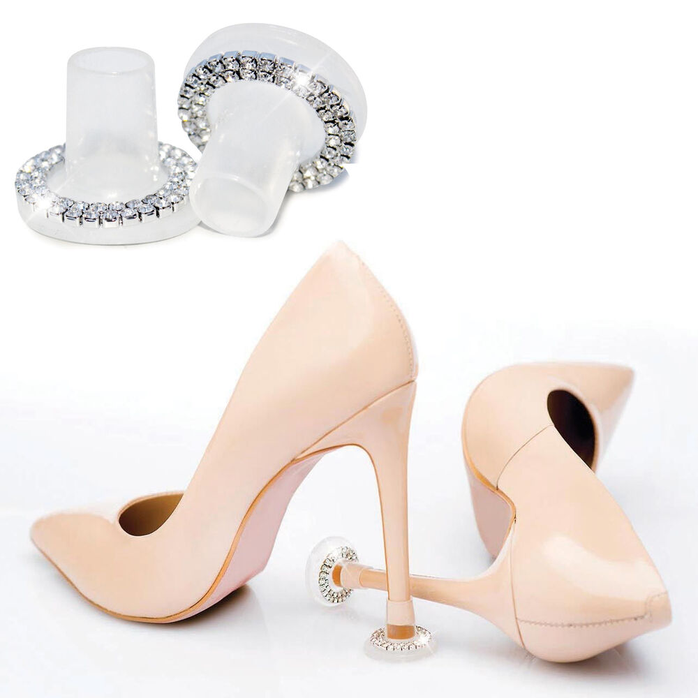 86e8b8320d0 Details about CLEAN HEELS Heel Stoppers CRYSTAL CUT - High Heel Protectors  for Weddings