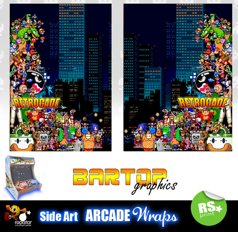 Retrocade Bartop Arcade Artwork Sides Overlay Graphic
