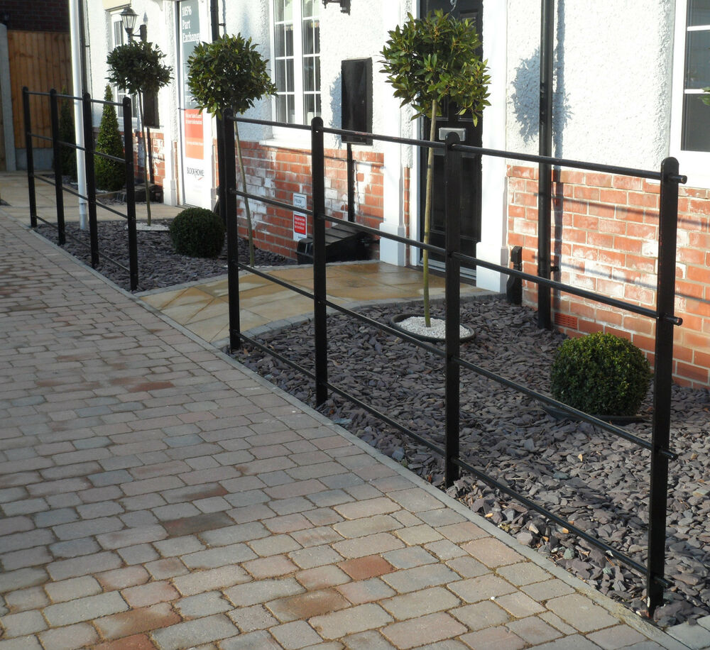 heavy wrought iron metal garden fencing steel estate railings fence panels ebay. Black Bedroom Furniture Sets. Home Design Ideas