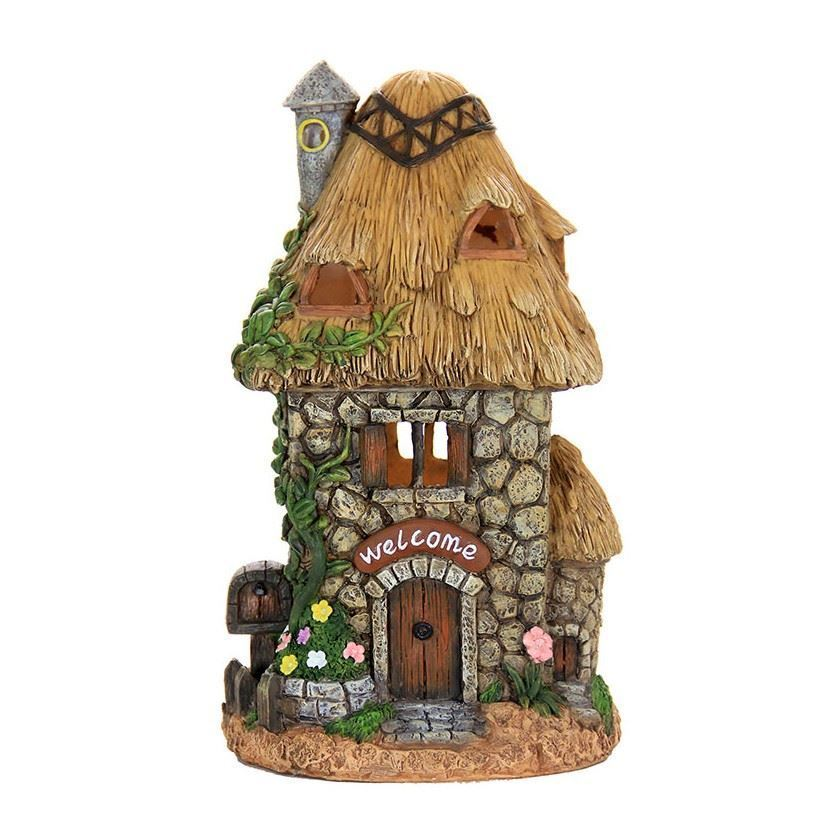 Fairy Garden Solar Lighted Stone Cottage Straw Roof House