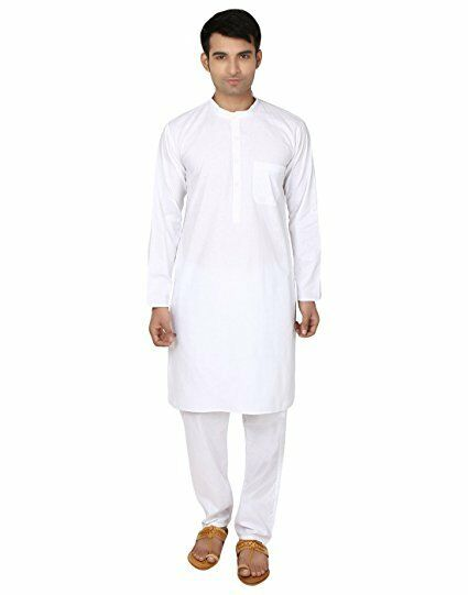 White Cotton Kurta Pajama For Men Yoga Indian Clothing Ebay