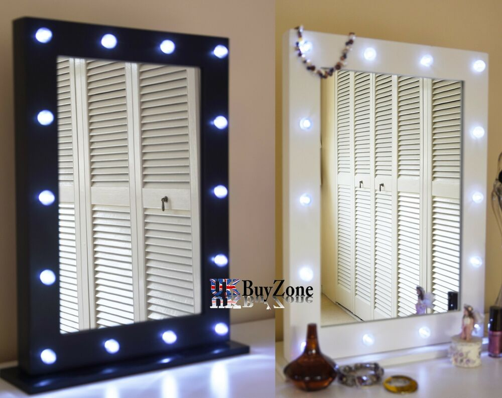 light up dressing table hollywood mirror led bulbs make up vanity mirror wooden ebay. Black Bedroom Furniture Sets. Home Design Ideas
