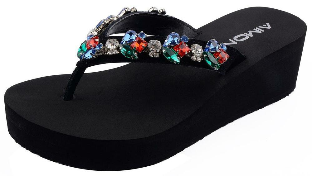 acabb5dbdcbbb1 Details about AIMONE Womens Emerald Rhinestone Mid Heel Flip Flop Thongs  Summer Beach Shoes