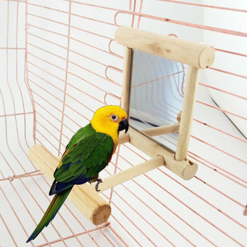 Mirror With Wooden Frame And 2 Landing Perches Bird Cage