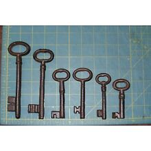 Set of 6 Cast Iron Rust Antique-Style Skeleton Keys Victorian Gothic Pirate