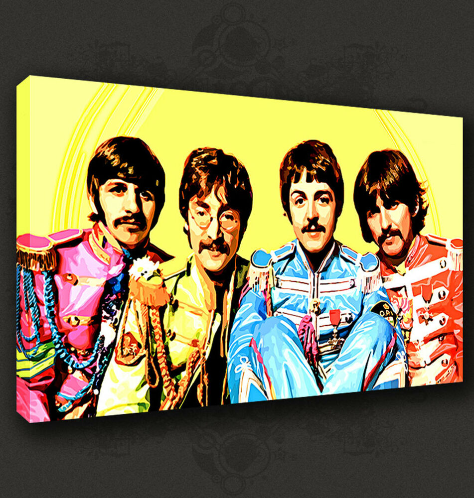 BEATLES SERGEANT PEPPER YELLOW MUSIC WALL ART CANVAS PRINT PICTURE ...