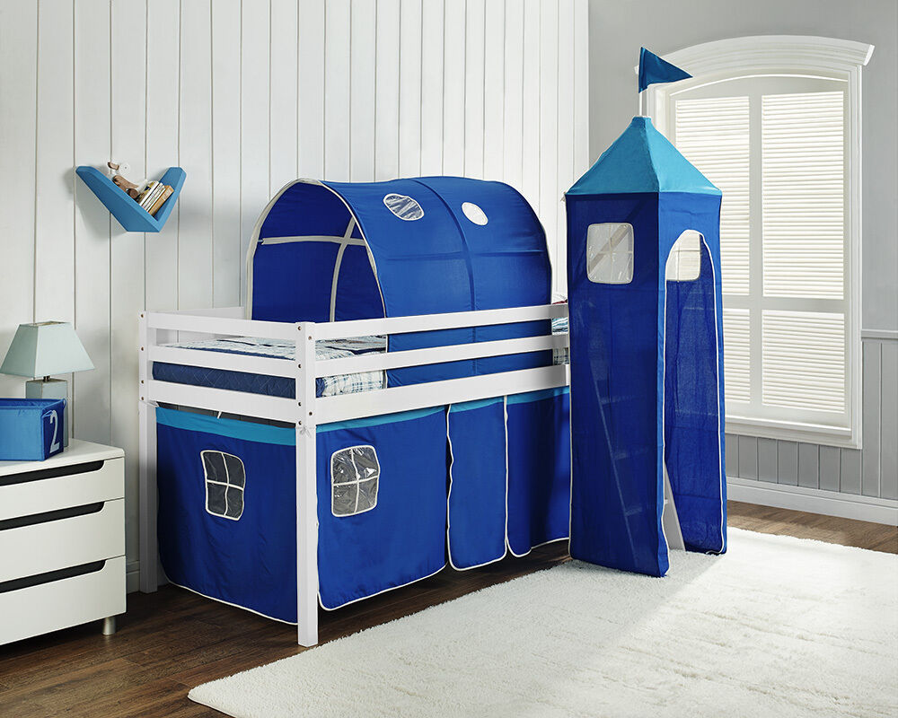 Kids Bunk Bed Mid Sleeper Wooden Pine Cabin Bed with ...