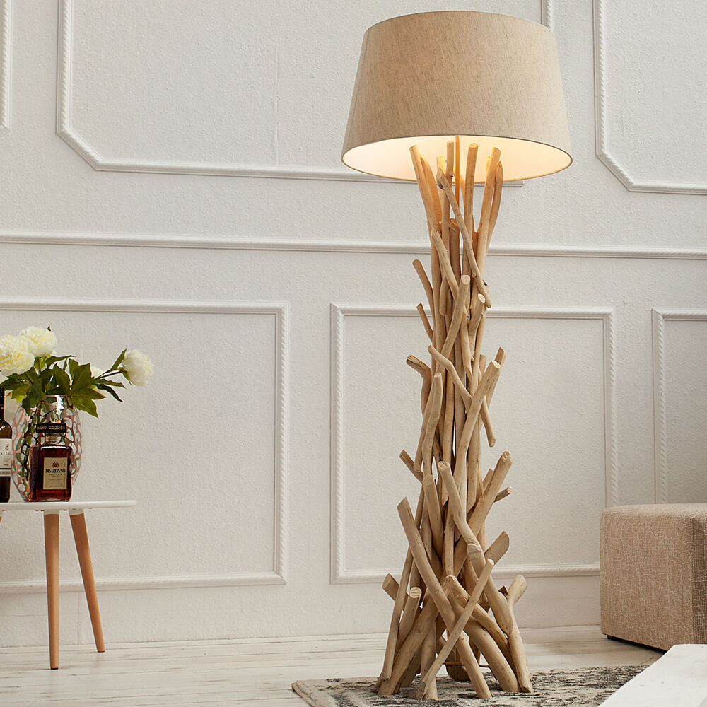 treibholz stehlampe cara 155 cm sand stehleuchte leuchte lampe holz ebay. Black Bedroom Furniture Sets. Home Design Ideas