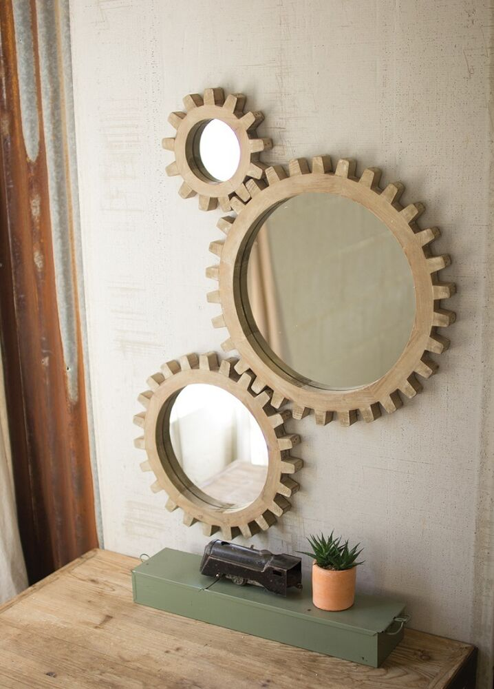 Gear Wall Mirrors Industrial Warehouse Round Wood Cog