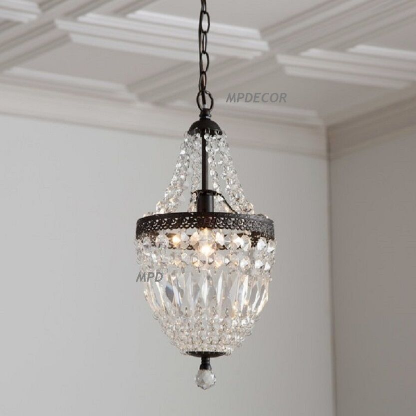 Details About Crystal Mini Chandelier Pendant French Country Vintage Style Light