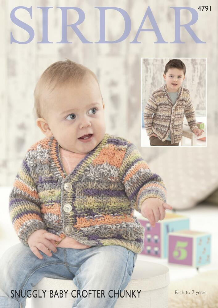568aeebed Sirdar 4791 Knitting Pattern Cardigans in Snuggly Baby Crofter Chunky