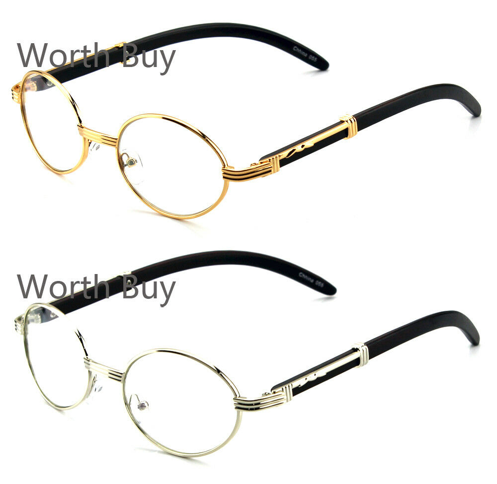 new mens womens clear lens glasses vintage retro gangster frame oval wood buffs - Wood Frame Glasses