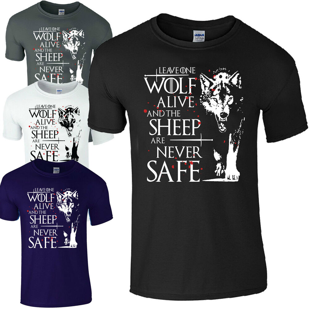 arya stark t shirt game of thrones t shirt leave one wolf alive men 39 s t shirt ebay. Black Bedroom Furniture Sets. Home Design Ideas