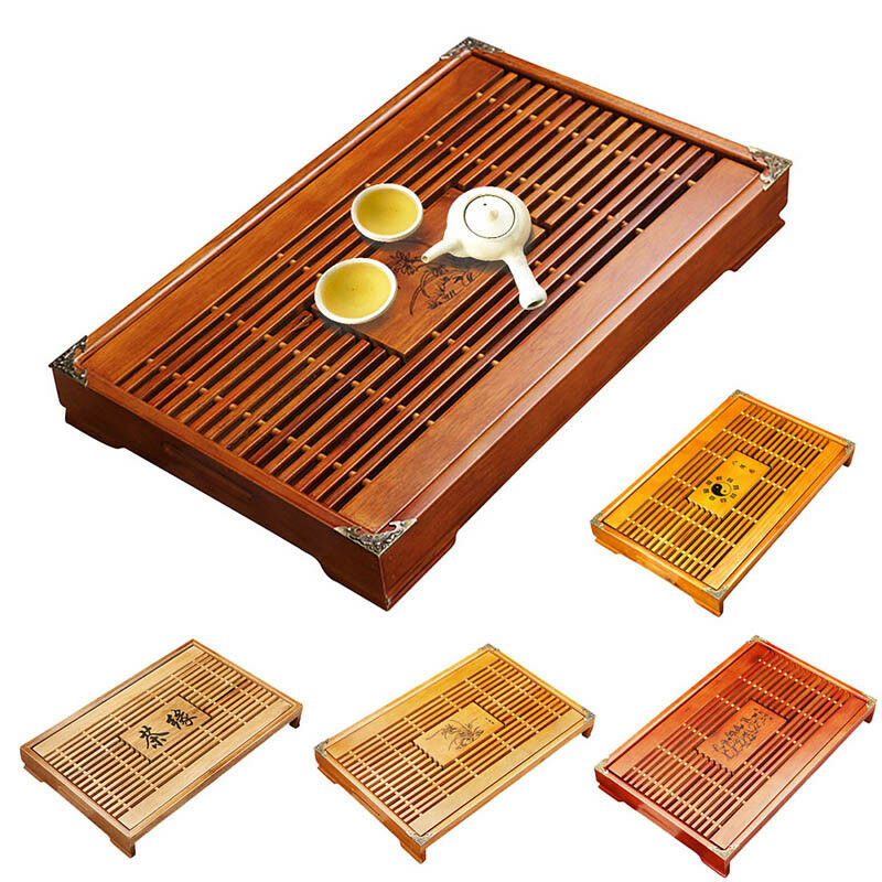 Wooden Tea Serving Tray Water Storage Drainage Chinese Kungfu Table Drawer Ebay