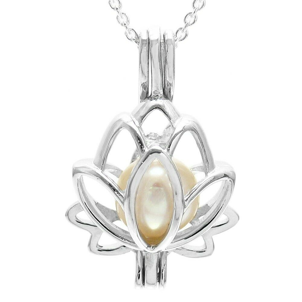 925 Sterling Silver Lotus Flower Pearl Cage Pendant Necklace Ebay