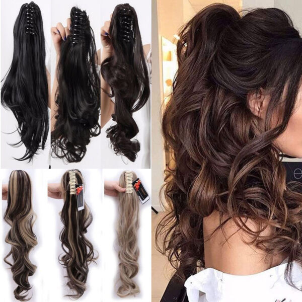 US 100% Real Thick New Clip In Hair Extension Pony Tail Claw Around Ponytail
