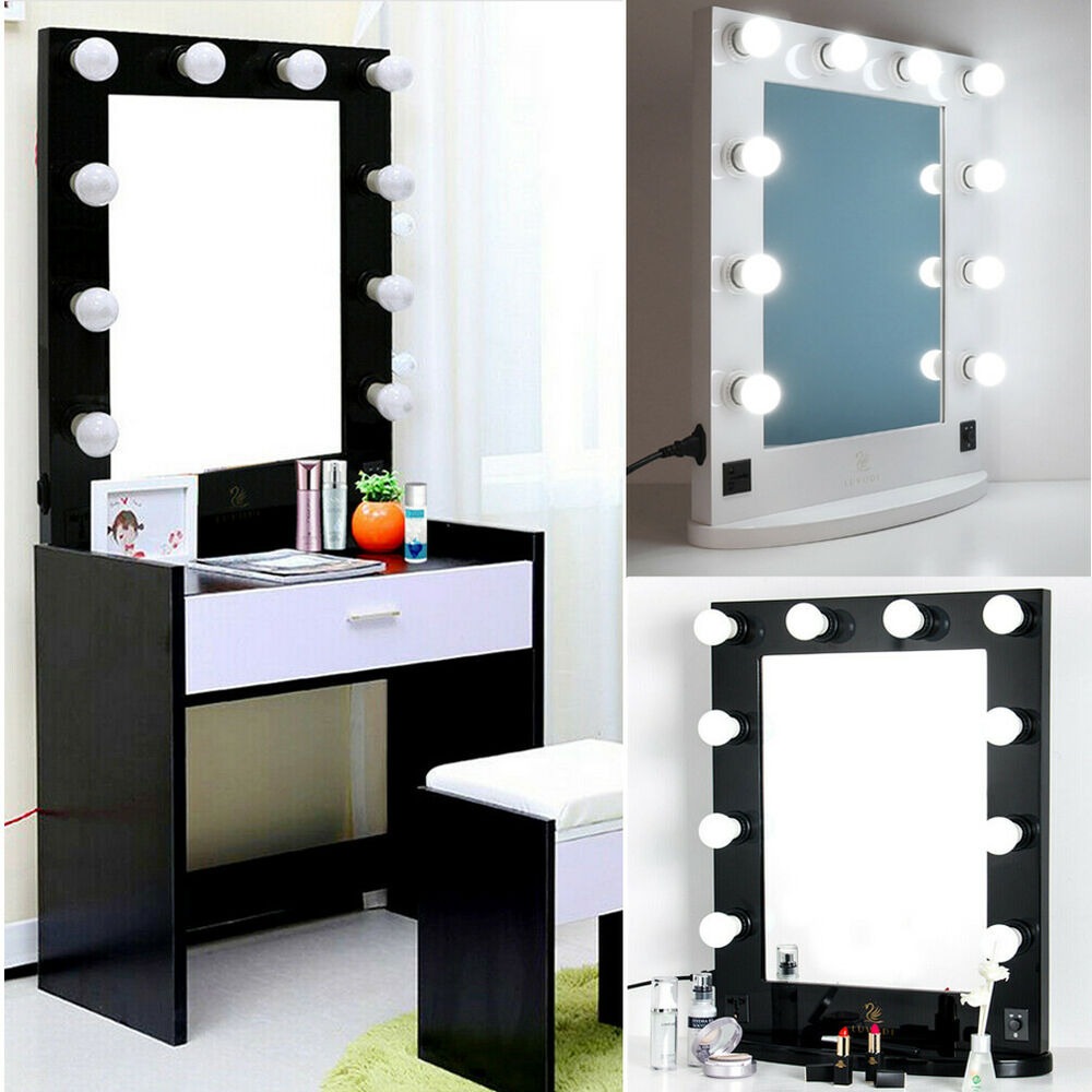 Large Hollywood Makeup Mirror Tabletop Vanity Lighted