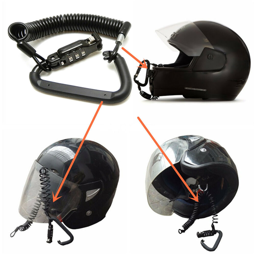 Motorcycle Helmet Lock Amp Cable Black Tough Combination Pin