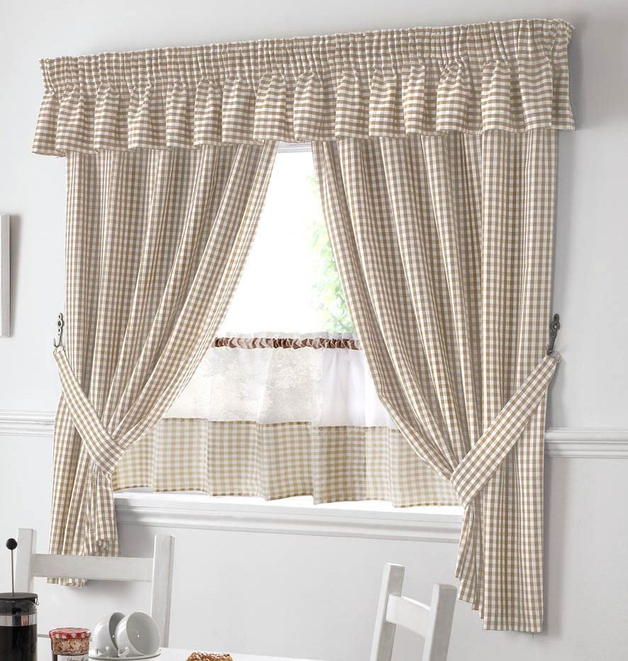 """BEIGE AND WHITE GINGHAM KITCHEN CURTAINS PELMET & 18"""" CAFE"""