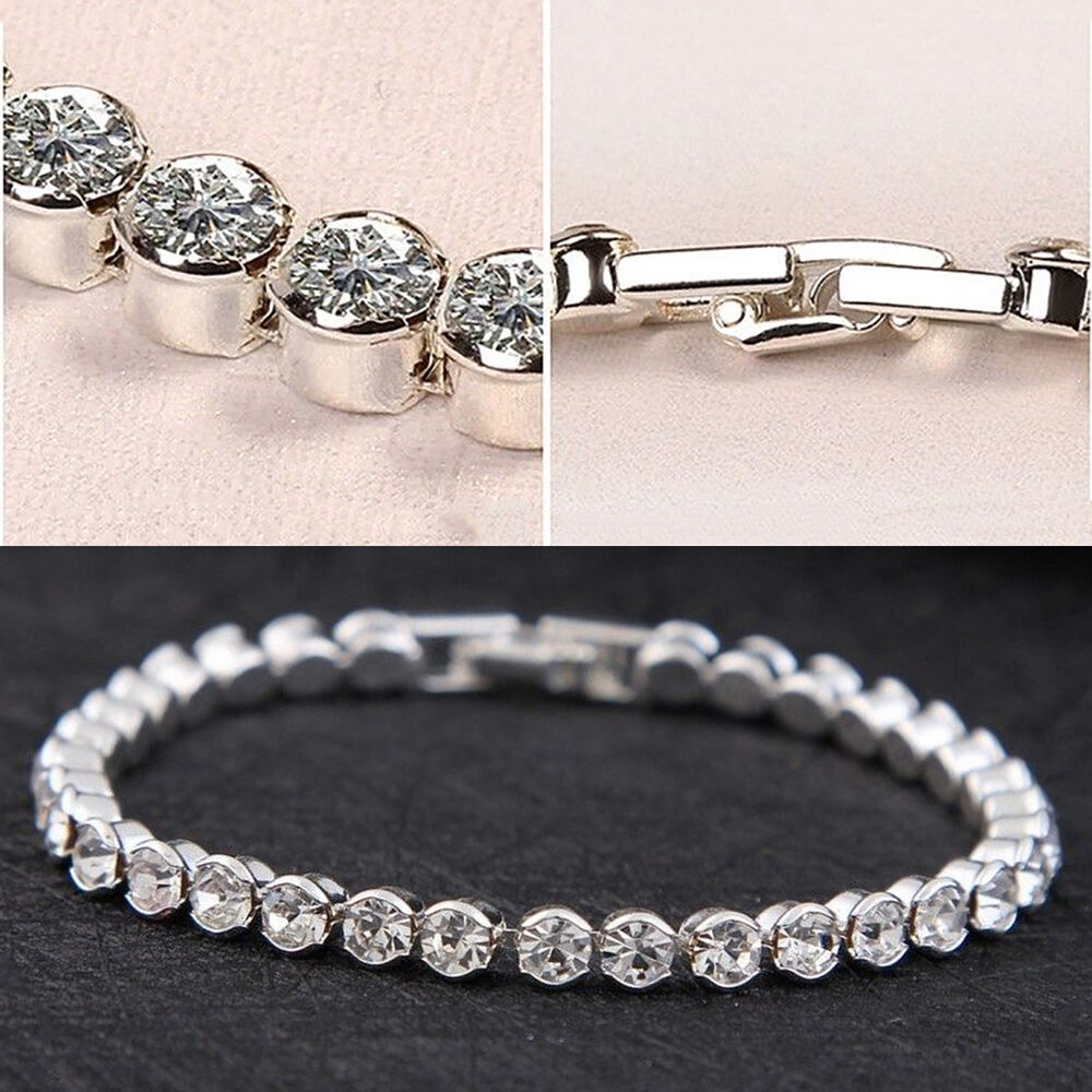 Swarovski Charm Bracelets: Silver Plated Tennis Bracelet Made With Swarovski Crystal