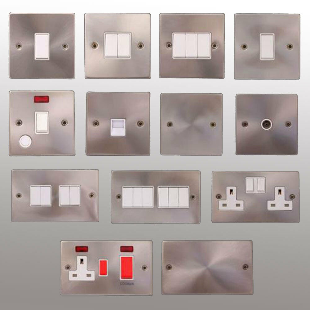 Electric satin chrome light switch socket brushed steel matt ... for Wall Switches And Sockets  75tgx
