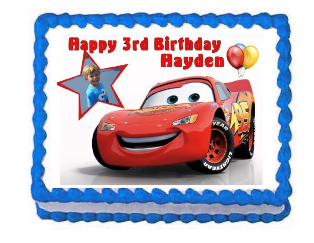 Cars Lightning McQueen edible cake image party cake topper ...