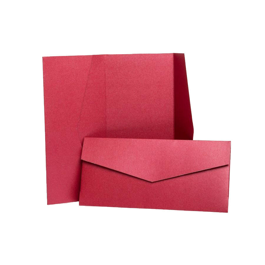 Cherry Red Pearlescent Pocketfold Wedding Invites with envelopes ...
