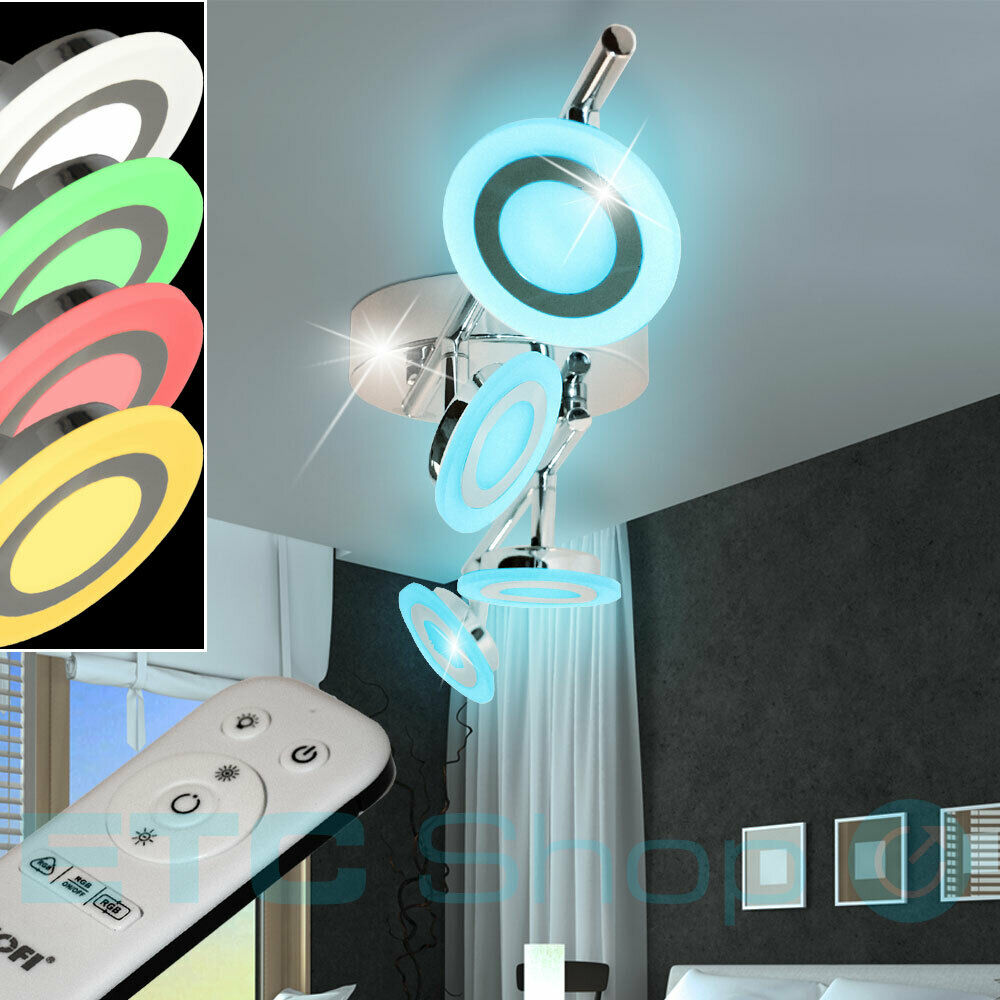 wofi decken lampe rgb led strahler dimmbar wand leuchte drehbar fernbedienung ebay. Black Bedroom Furniture Sets. Home Design Ideas