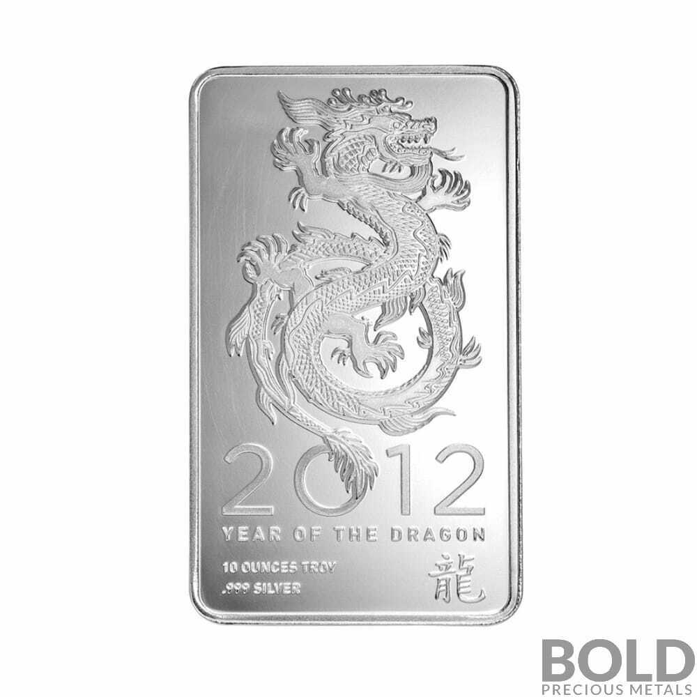 2012 Silver Ntr Lunar Dragon Bar 10 Oz Ebay