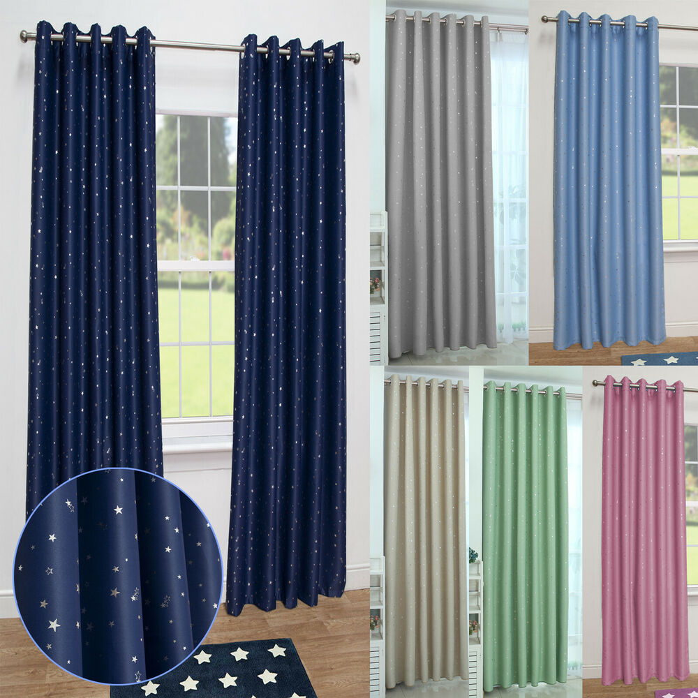 stars kids thermal blackout ready made eyelet curtains. Black Bedroom Furniture Sets. Home Design Ideas