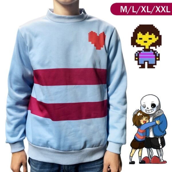 Undertale Frisk Sweatshirt Hoodie Sweater Jacket Coat Cosplay Costume Halloween