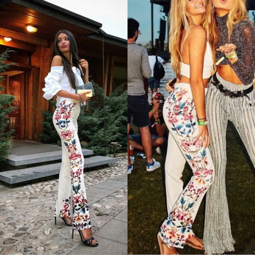 5c8ec17a83 Details about ZARA ECRU FLORAL SIDE PRINTED FLARED TROUSERS PANTS SS17 SIZE  XS NEW TAGS