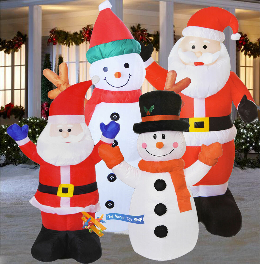 Large Inflatable Santa Snowman Outdoor Airblown Xmas ...