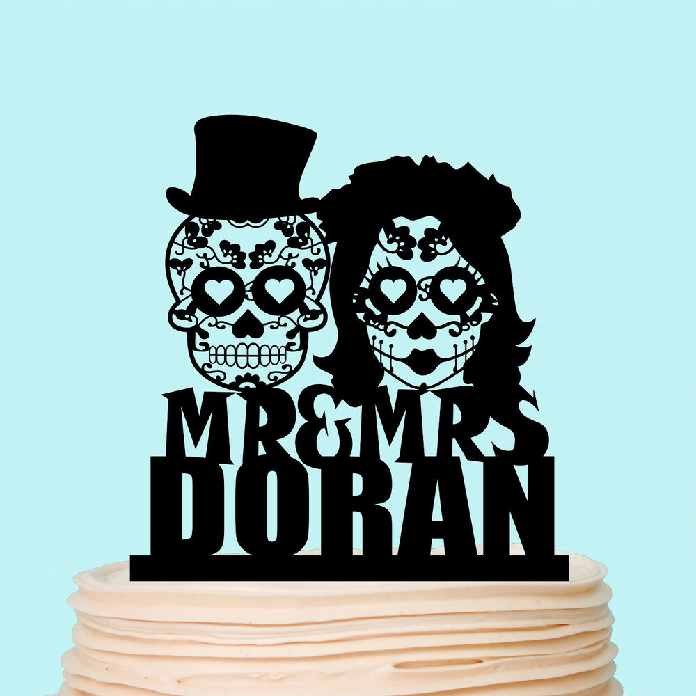 Sugar Skull Wedding Cake Topper Halloween Skeleton Mr and ...