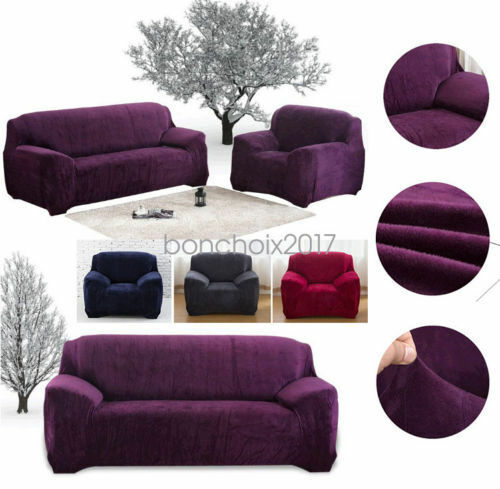 l form velvet sofahusse sofabez ge universal stretchhusse sofabezug sesselbezug ebay. Black Bedroom Furniture Sets. Home Design Ideas