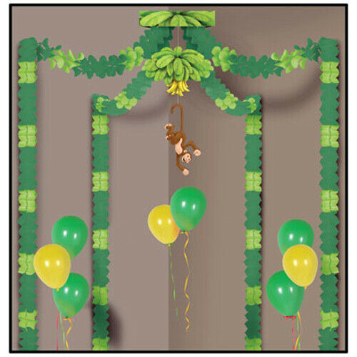 Details About Jungle Monkey Party Supplies Canopy Safari Birthday Decorations Green Tropical
