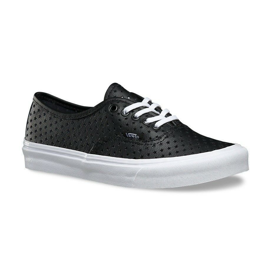 cc4b60a7f68b82 Details about VANS Authentic Slim (Perf Stars) Black Leather WOMEN S Casual  Shoes