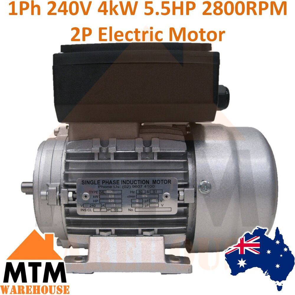Single Phase Electric Motor 240v 4 Kw 5 5 Hp 2800rpm 2