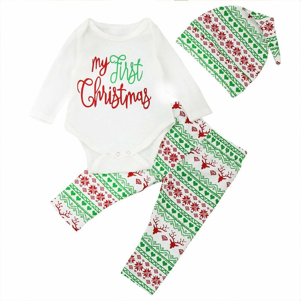 e532e4ed0 Details about My First Christmas Baby Boys Girls Romper Bodysuit+Pants Clothes  Outfit 3PCS Set