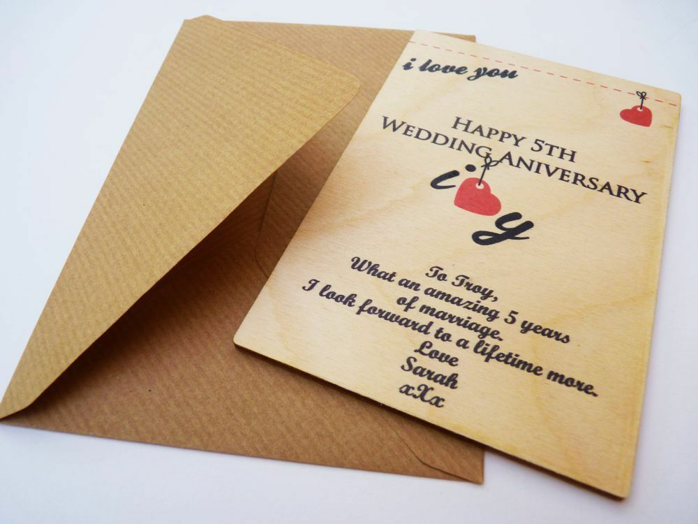 Personalised 5th Wedding Anniversary Card Wooden Card