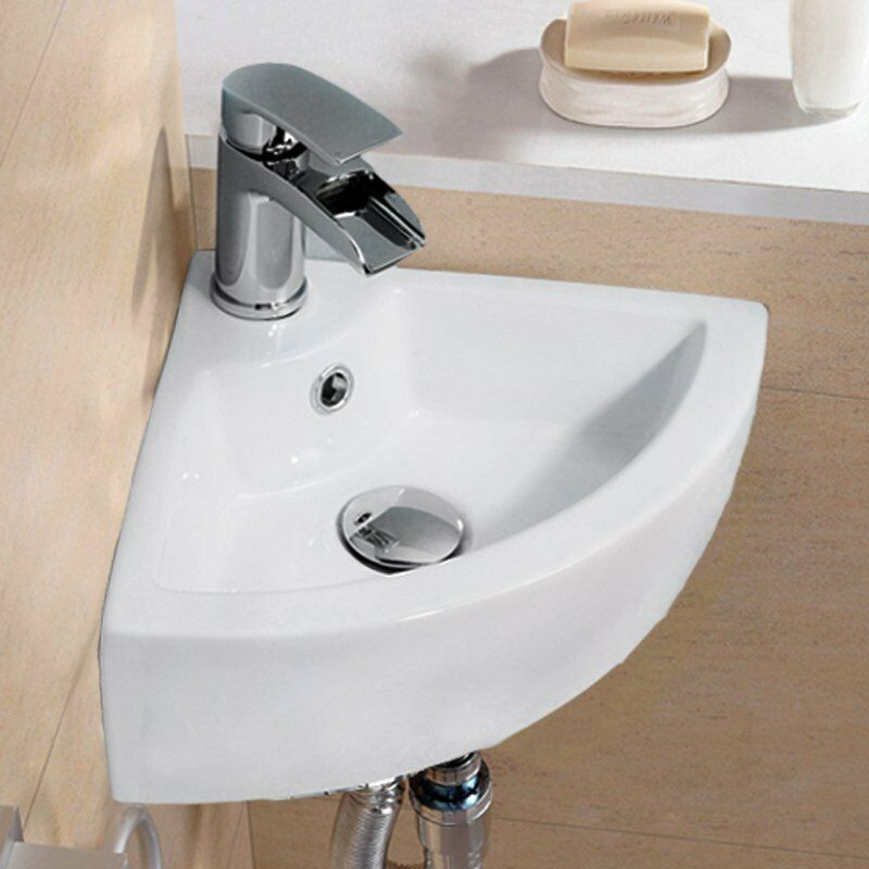 Modern Corner Ceramic Small Cloakroom Basin Wall Hung Hand Wash