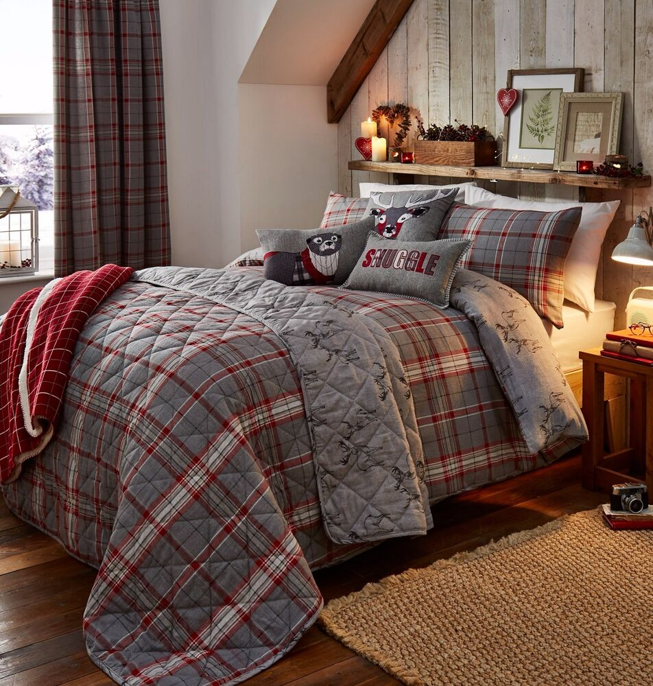 Ludlow Grey And Red Brushed Cotton Flannelette Quilt Cover