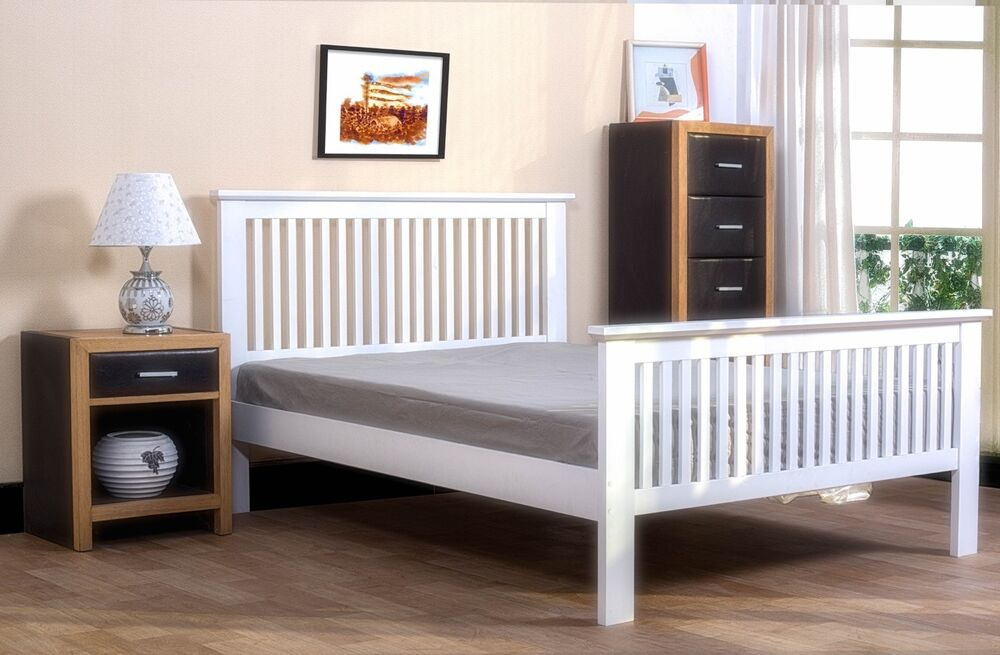 Wooden Shaker Style Bedframe White 4ft6 Double Bed With Mattress