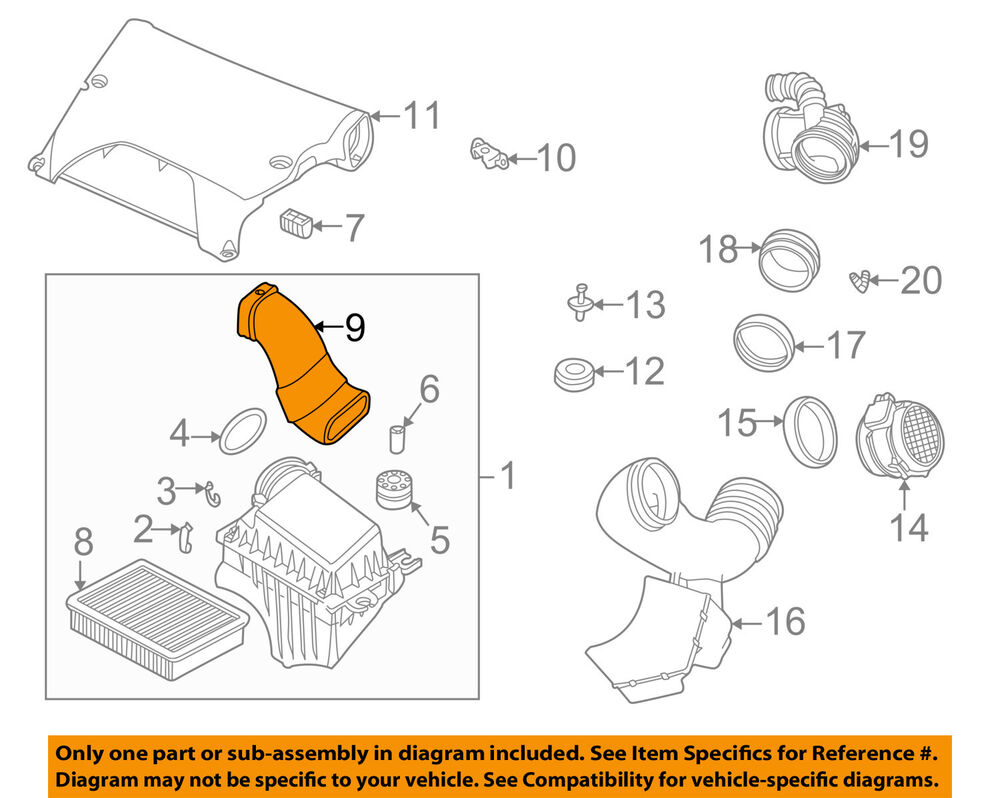 details about bmw oem 01-06 x5 3 0l-l6 air cleaner intake-boot hose duct  tube 13711438471