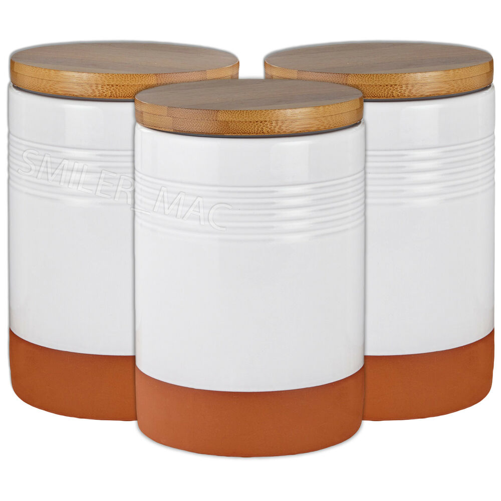 Heart Of House 3 Kemble Terracotta Bamboo Jars Kitchen Storage Sugar ...