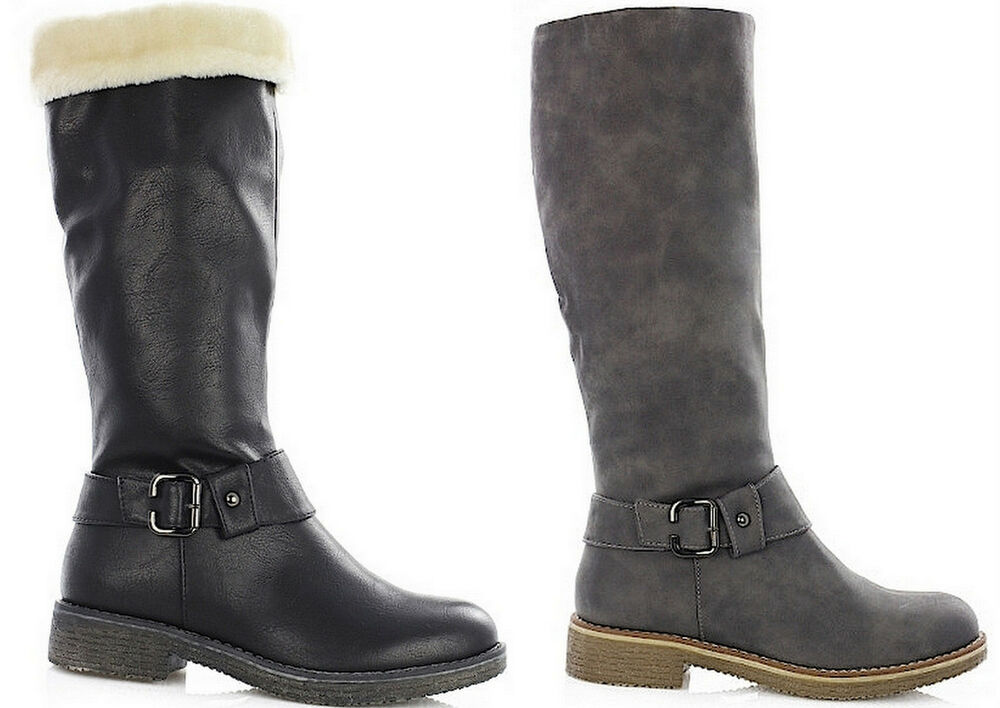 damen winterstiefel basic boots flache winterschuhe damenschuhe warm gef ttert ebay. Black Bedroom Furniture Sets. Home Design Ideas