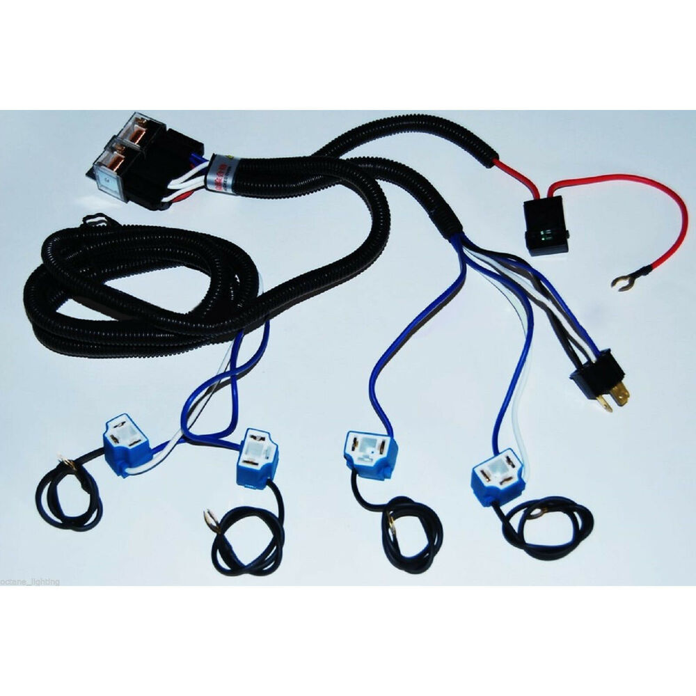 ceramic h4 relay wiring harness 4 headlight headlamp light. Black Bedroom Furniture Sets. Home Design Ideas