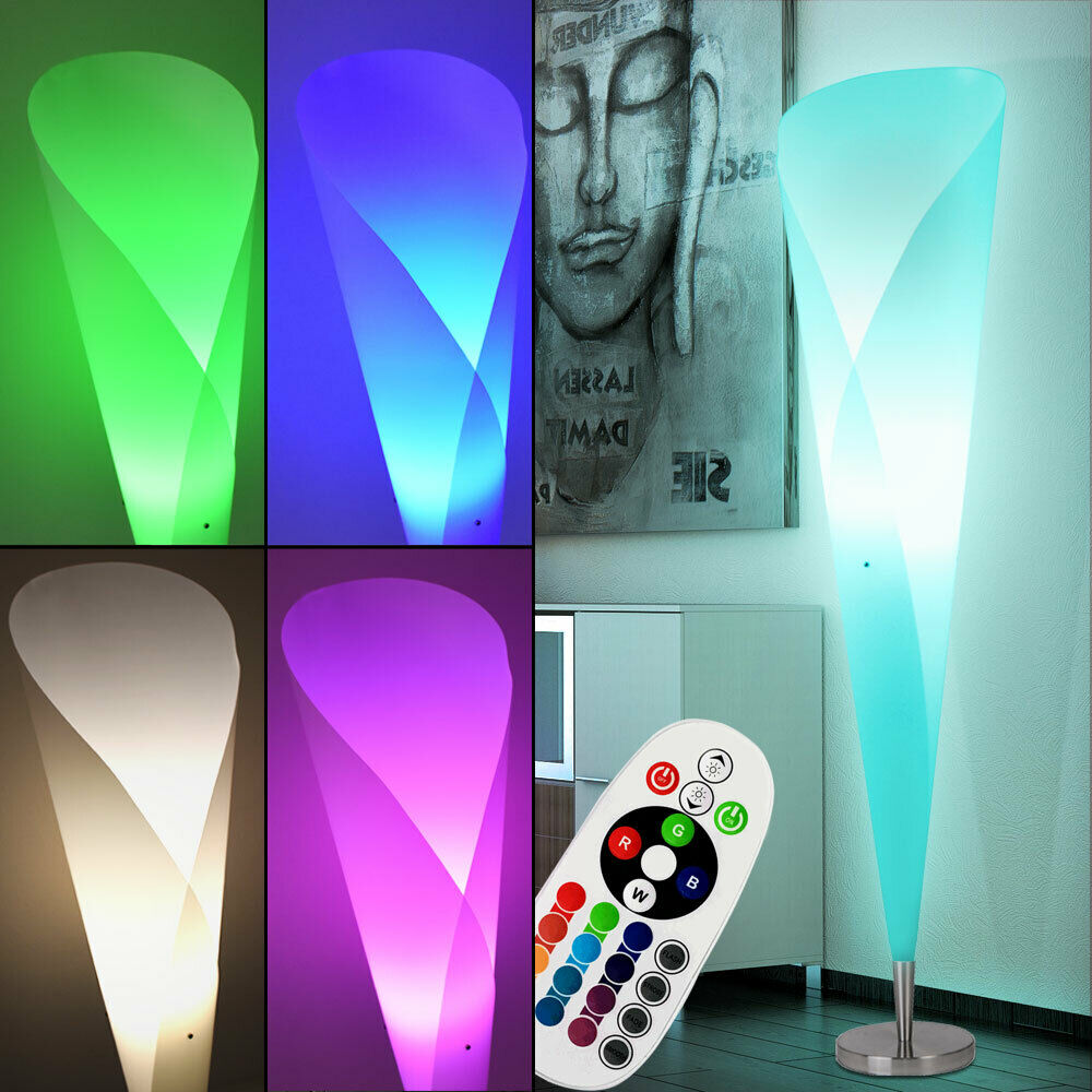 led steh lampe wohn zimmer rgb beleuchtung fernbedienung decken fluter dimmbar ebay. Black Bedroom Furniture Sets. Home Design Ideas