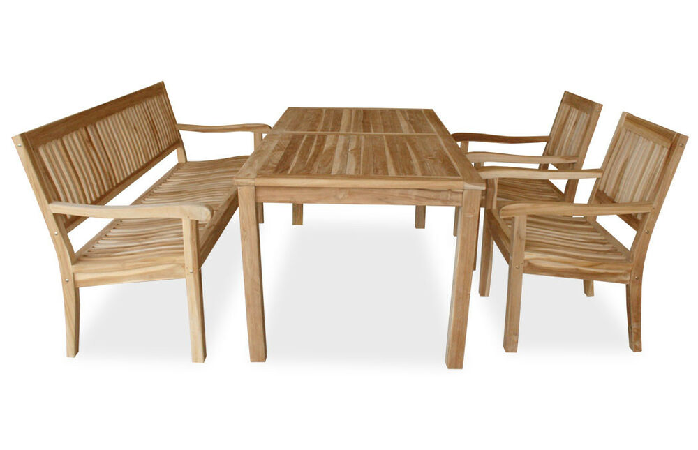 kmh teak sitzgruppe tisch 180 x 90 cm st hle bank sessel holz gartenm bel set ebay. Black Bedroom Furniture Sets. Home Design Ideas