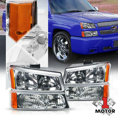 Chrome Housing Headlight Amber Signal+Bumper for 03-07 Chevy Silverado/Avalanche